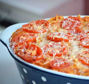 Roasted Garlic Cheese Baked Spaghetti