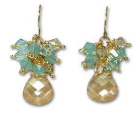 Gold and Aquamarine Crystal Earrings