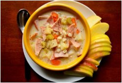Potato, Barley and Canadian Bacon Soup