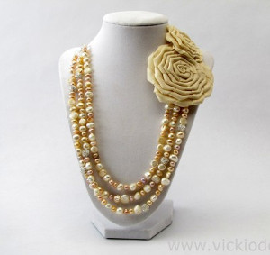 Mother of Pearl Necklace with Fabric Rose