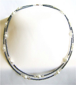 Silver Shade Bead Necklace