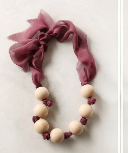 Wood Bead and Chiffon Necklace