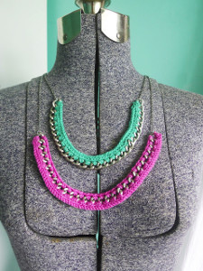 Pop of Color Crocheted Chain Necklace