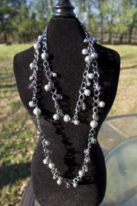 Smoky Pearl and Crystal Necklace