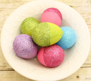 Glitter Dipped Easter Eggs