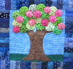 Blossoming Spring Tree Quilt Block