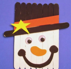 Craft Stick Snowman Head
