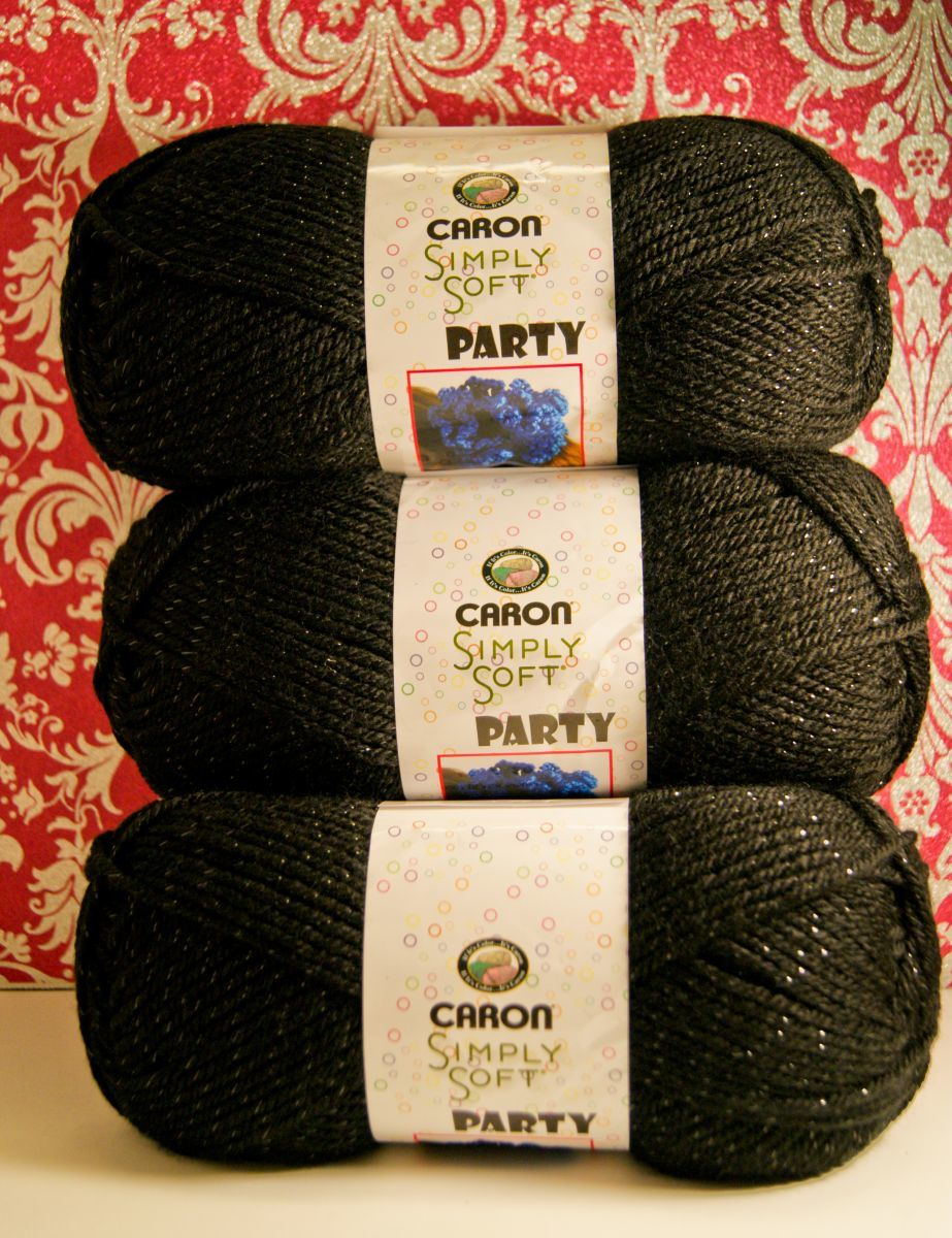 Caron Simply Soft Party Yarn Black Sparkle