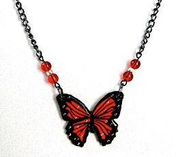 Glazed Paper Butterfly Necklace