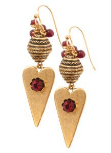 Antique Gold and Garnet Heart Earrings