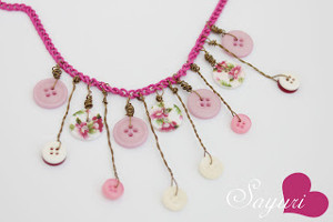 Shower of Pink Buttons Necklace