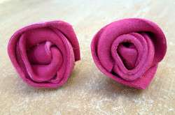 Lovely Leather Rose Studs
