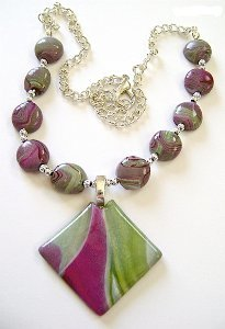 Shimmering Plum Swirls Necklace