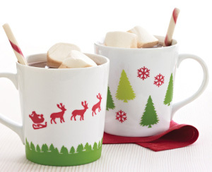 Stenciled Christmas Mugs