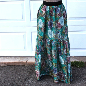 Long Patterned Peasant Skirt