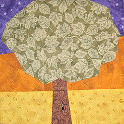 Tree at Sunset Quilt Block