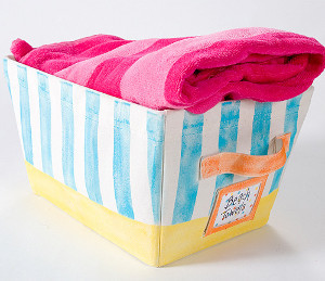 Striped Beach Towel Basket