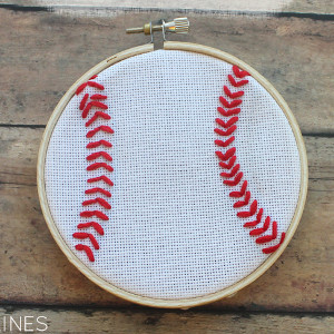 Home Run Baseball Embroidery Hoop