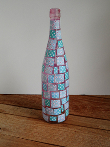 Decoupaged Mosaic Wine Bottle