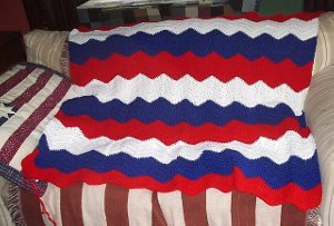 Red, White and Blue Ripple Afghan