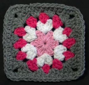 Gray And Pink Flower Granny Square