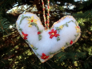 Felt Embroidery Heart Ornament