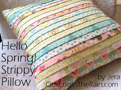 Hello Spring Strippy Pillow Cover