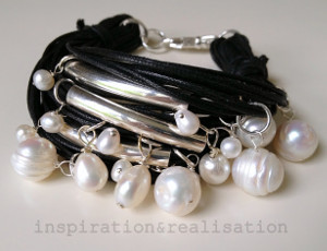 Black and Pearl Charm Bracelet