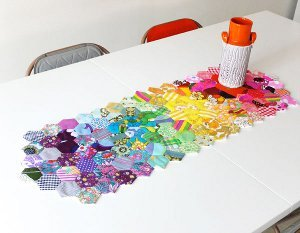 Rainbow of Hexies Patchwork Table Runner