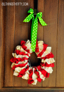 Red and White Burlap Wreath