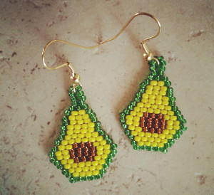 Beaded Avocado Earrings