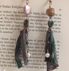 Recycled Sari and Pearl Earrings