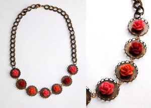 Scrapbook-Style Floral Necklace