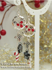 Wire Wrapped Christmas Candy Earrings