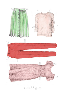 Pink and Green Printable Paper Doll Clothes