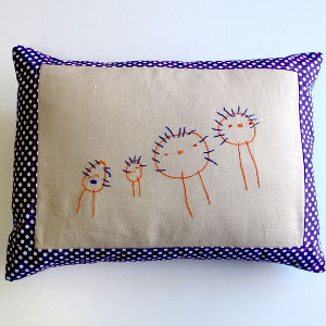Embroidered Family Portrait Pillow