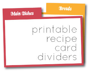 Printable Recipe Card Dividers
