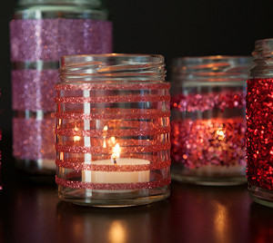 Glittered Glass Candle Holders