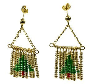 Beaded Fringe Fir Tree Earrings