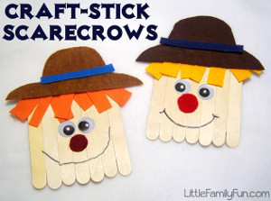 Kooky Craft Stick Scarecrows