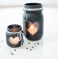 Chalkboard Mason Jar Candle Centerpieces