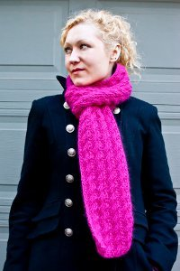 Pretty in Pink Cable Lace Scarf