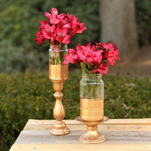 Gold Tipped Mason Jar Vases