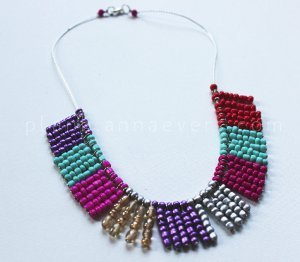 Bright Beaded Color Block Necklace