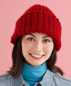 Cranberry Kiss Ribbed Hat