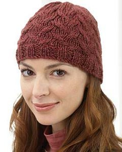 Burgundy Breeze Cable Knit Hat