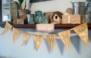Antiqued Sheet Music Bunting