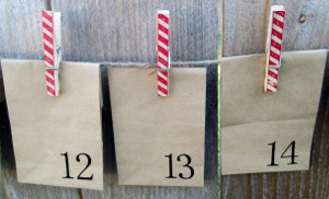 Candy Cane Clothespin Advent Calendar