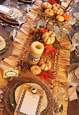 Burlap and Corn Husk Table Runner