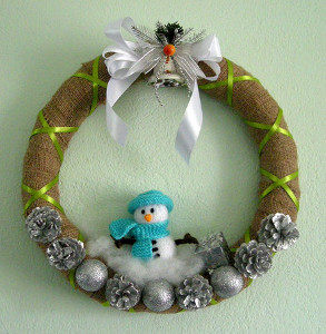 Decorative Snowman Burlap Wreath